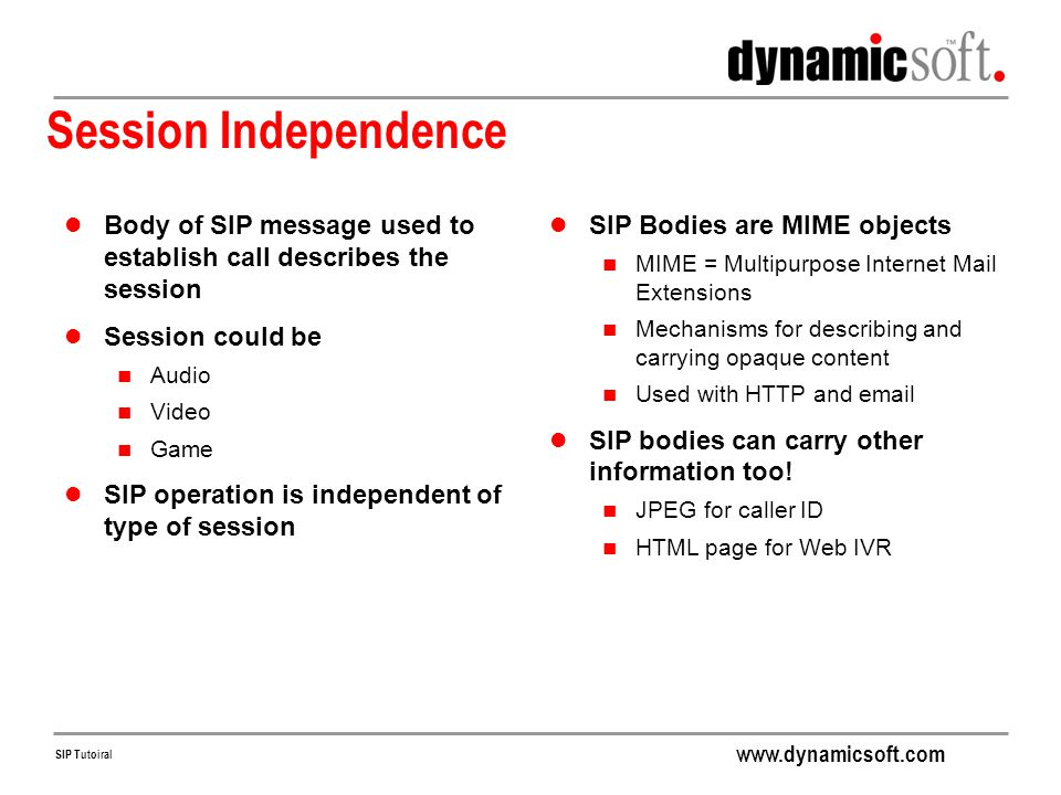 Session Independence Body of SIP message used to establish call describes the session. Session could be.