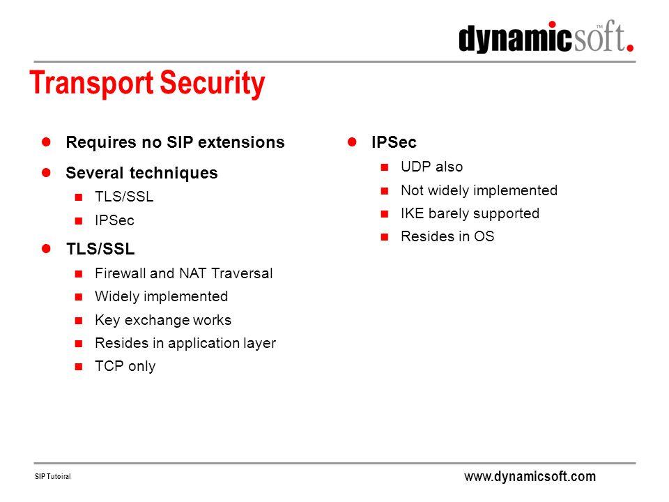 Transport Security Requires no SIP extensions Several techniques IPSec