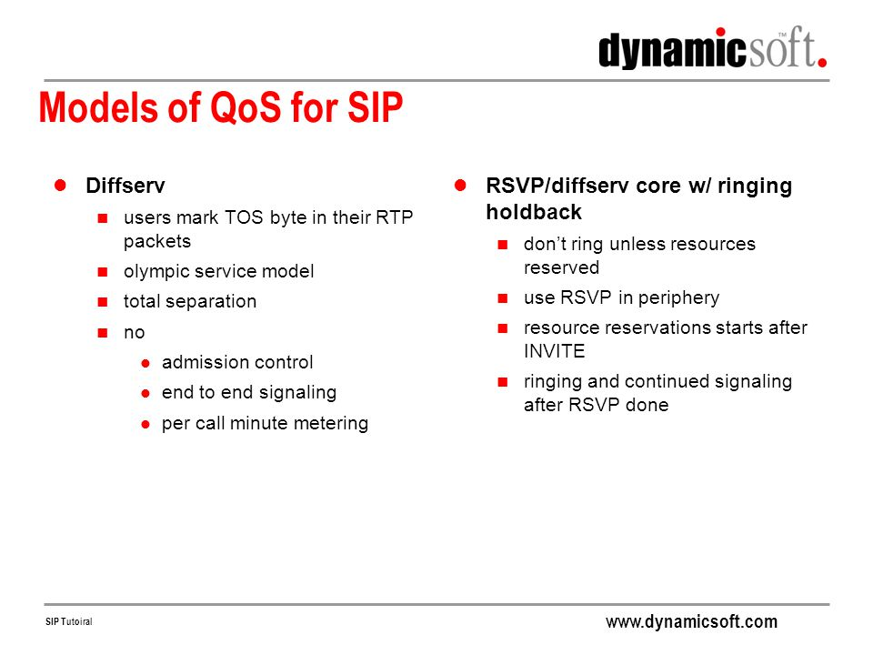 Models of QoS for SIP Diffserv RSVP/diffserv core w/ ringing holdback