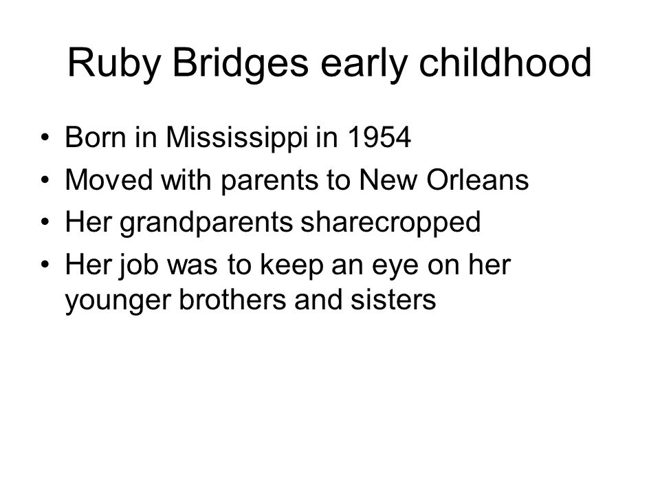 Ruby Bridges early childhood