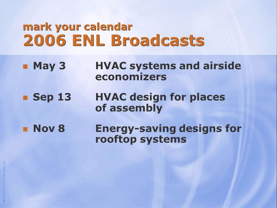 mark your calendar 2006 ENL Broadcasts