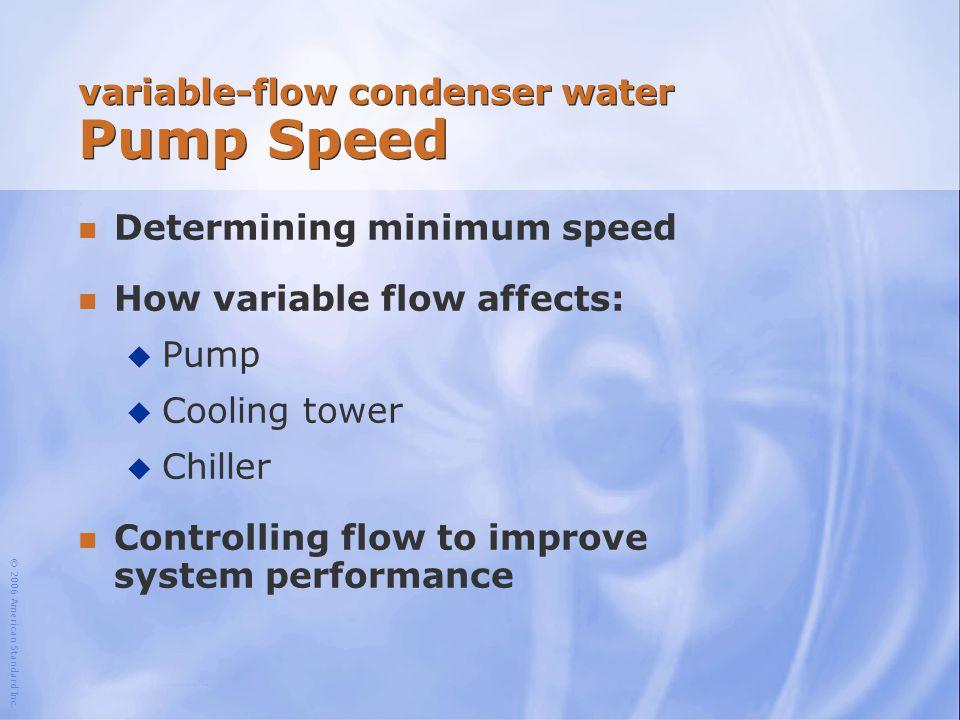 variable-flow condenser water Pump Speed