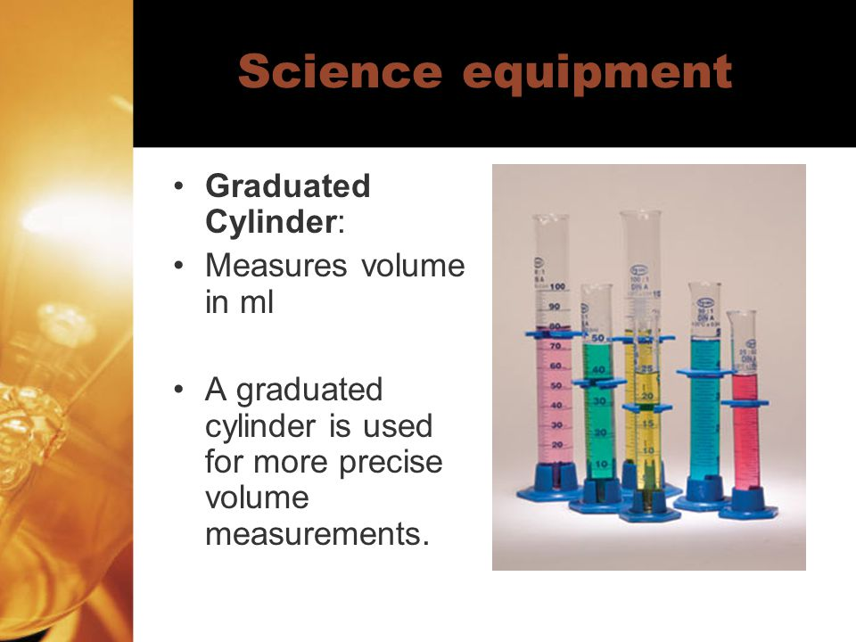 Science equipment Graduated Cylinder: Measures volume in ml