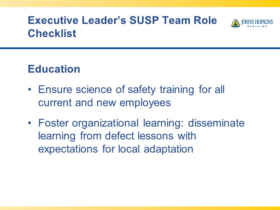 Executive Leader's SUSP Team Role Checklist