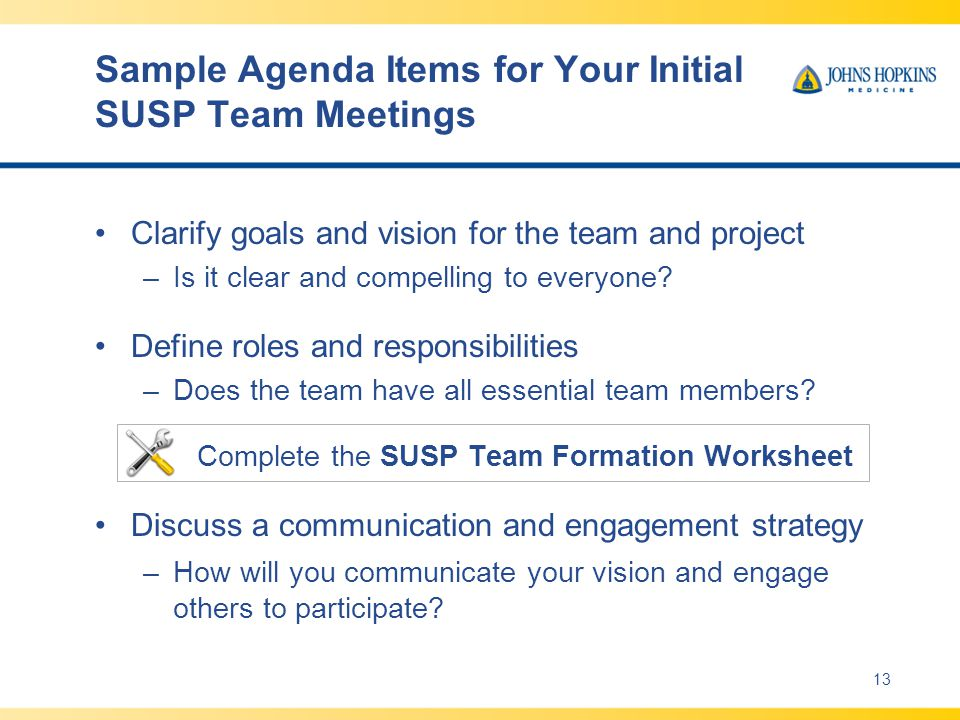 Sample Agenda Items for Your Initial SUSP Team Meetings