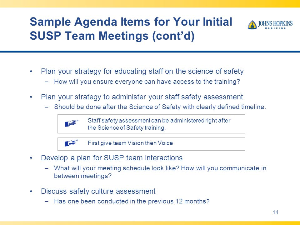 Sample Agenda Items for Your Initial SUSP Team Meetings (cont'd)