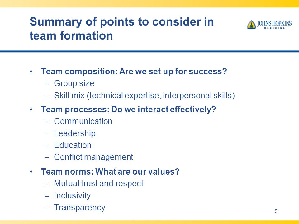 Summary of points to consider in team formation