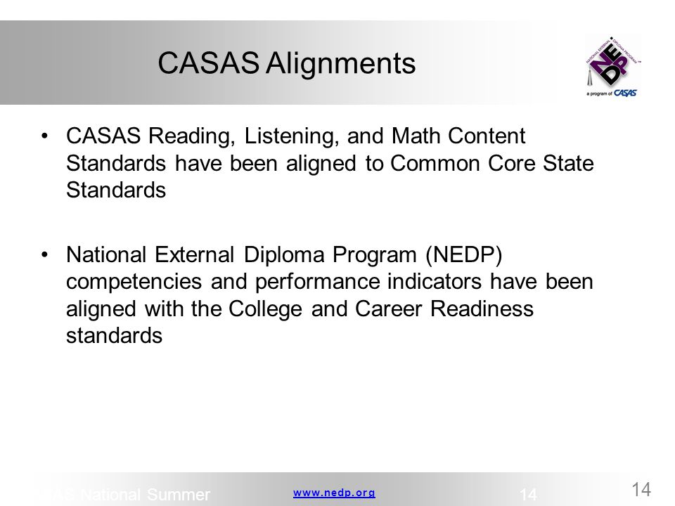 CASAS Alignments CASAS Reading, Listening, and Math Content Standards have been aligned to Common Core State Standards.