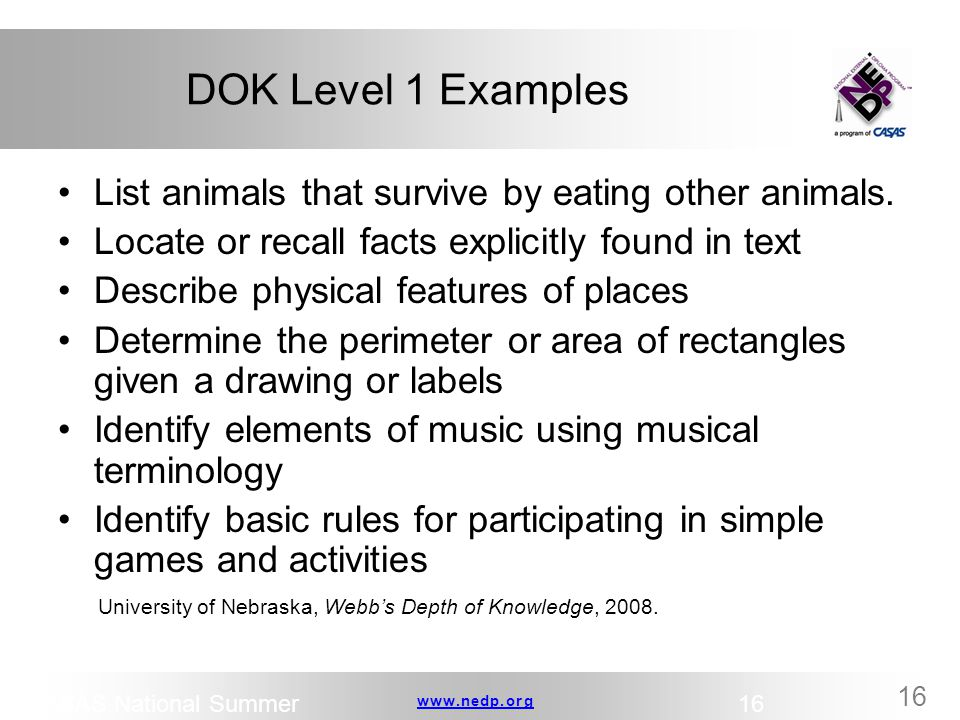DOK Level 1 Examples List animals that survive by eating other animals. Locate or recall facts explicitly found in text.