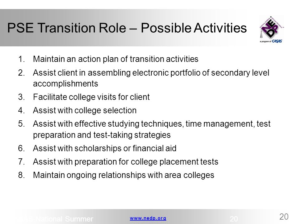 PSE Transition Role – Possible Activities