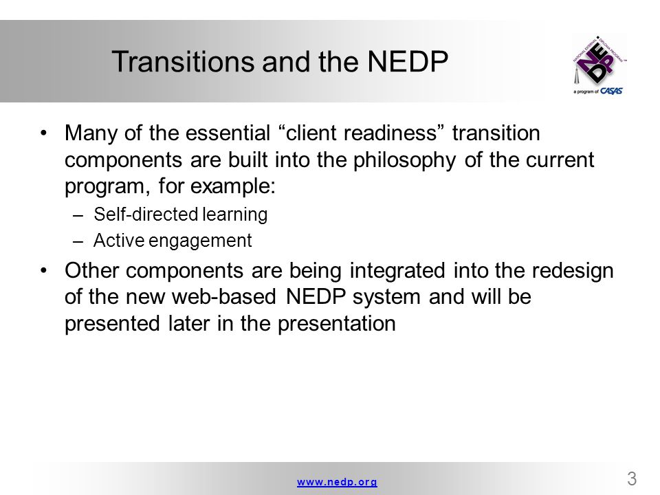 Transitions and the NEDP