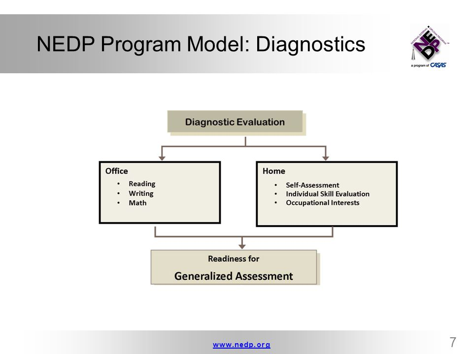 NEDP Program Model: Diagnostics