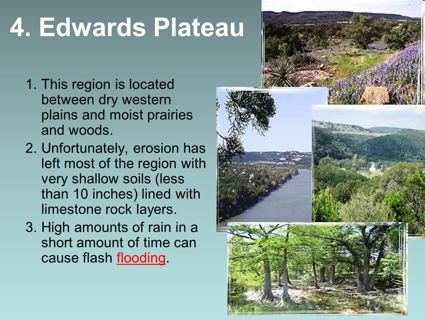 4. Edwards Plateau This region is located between dry western plains and moist prairies and woods.