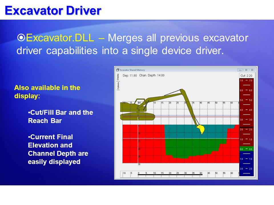 Excavator Driver Excavator.DLL – Merges all previous excavator driver capabilities into a single device driver.