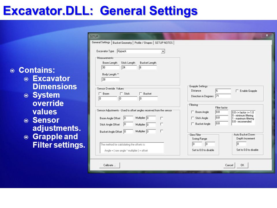 Excavator.DLL: General Settings