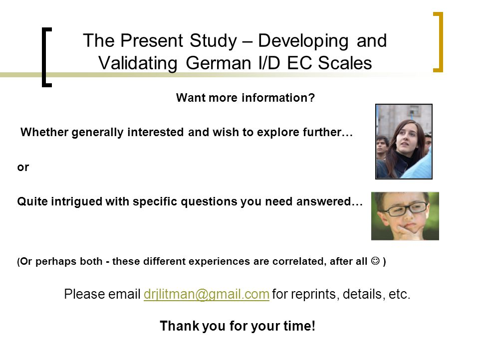 The Present Study – Developing and Validating German I/D EC Scales