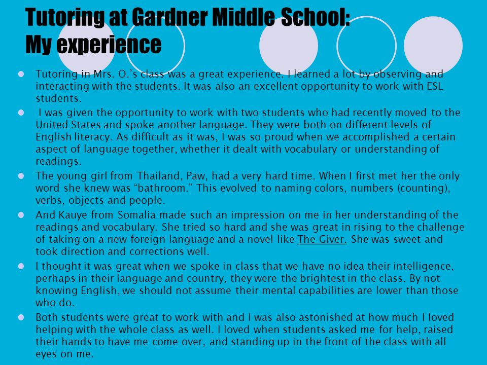 Tutoring at Gardner Middle School: My experience