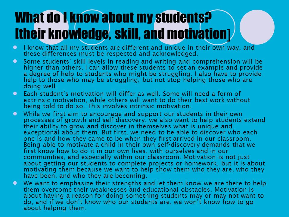 What do I know about my students