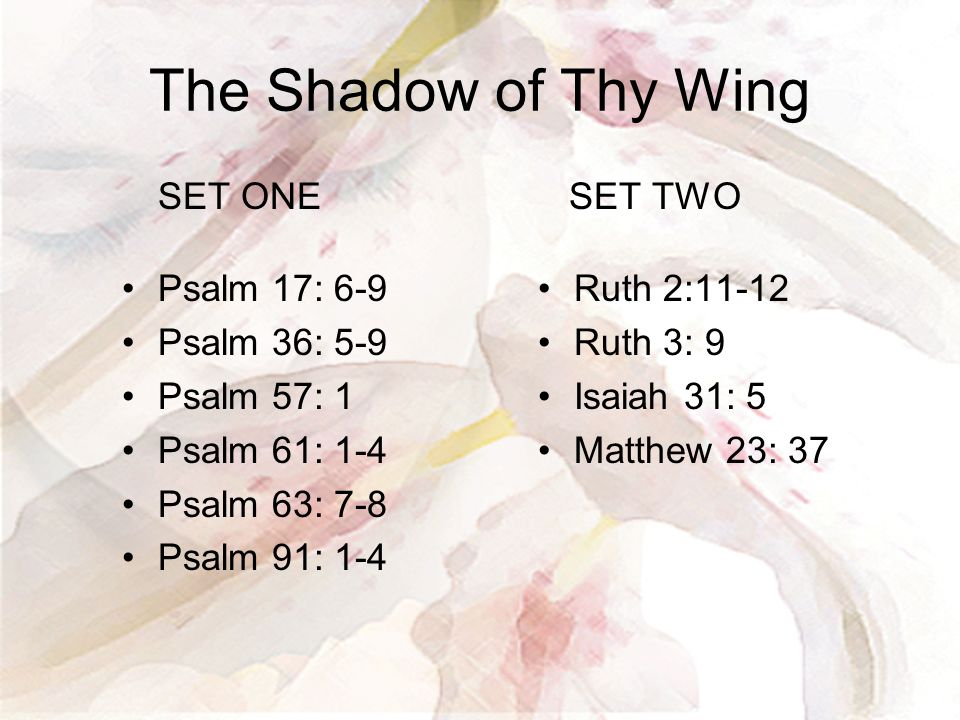 The Shadow of Thy Wing SET ONE Psalm 17: 6-9 Psalm 36: 5-9 Psalm 57: 1