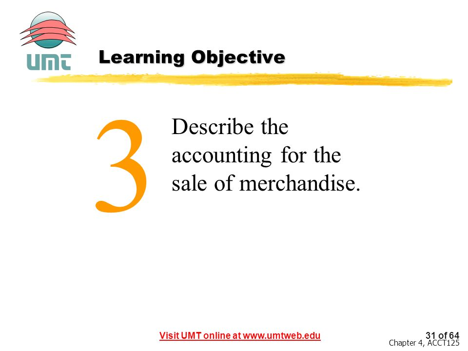 3 Describe the accounting for the sale of merchandise.