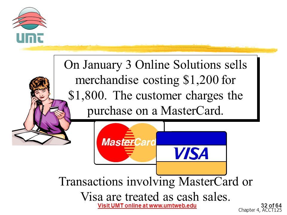 Transactions involving MasterCard or Visa are treated as cash sales.