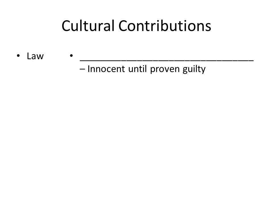 Cultural Contributions