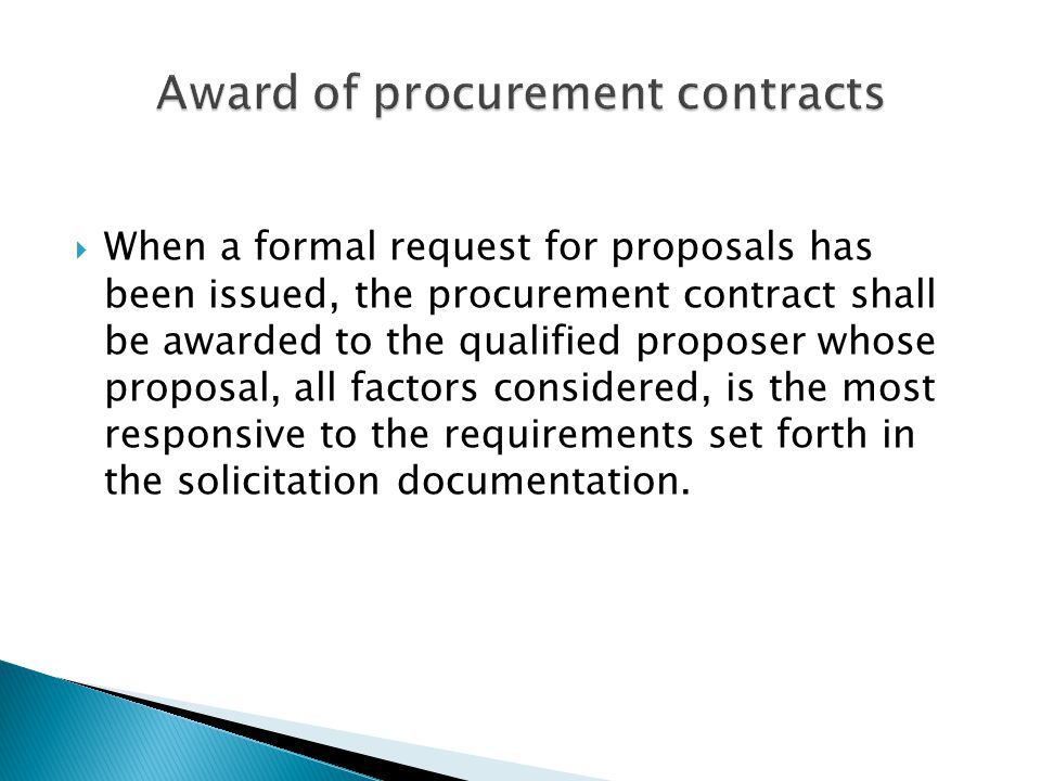 Award of procurement contracts