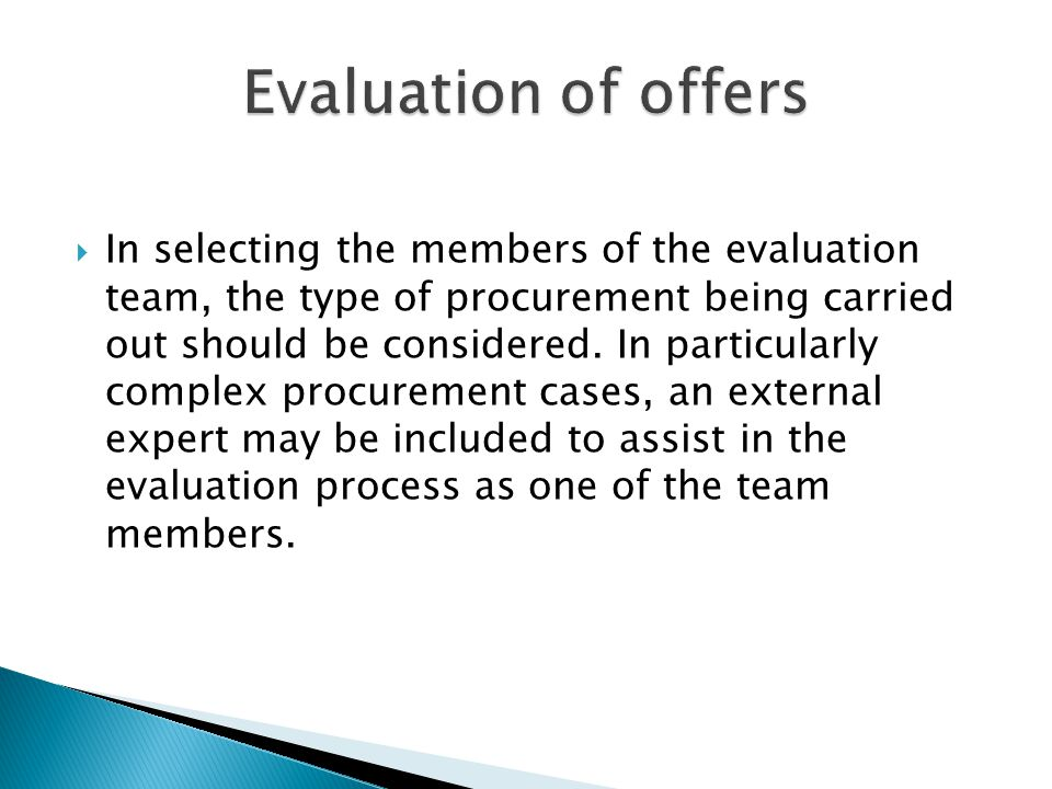 Evaluation of offers