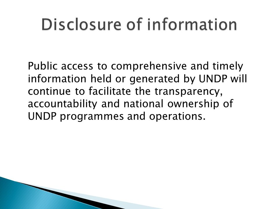 Disclosure of information
