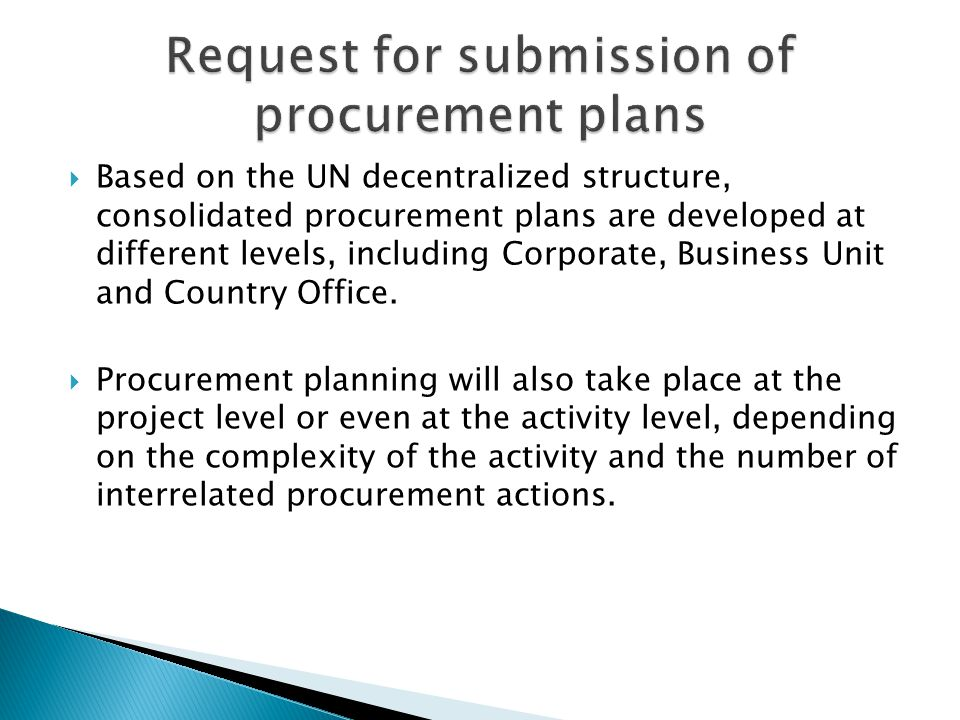 Request for submission of procurement plans