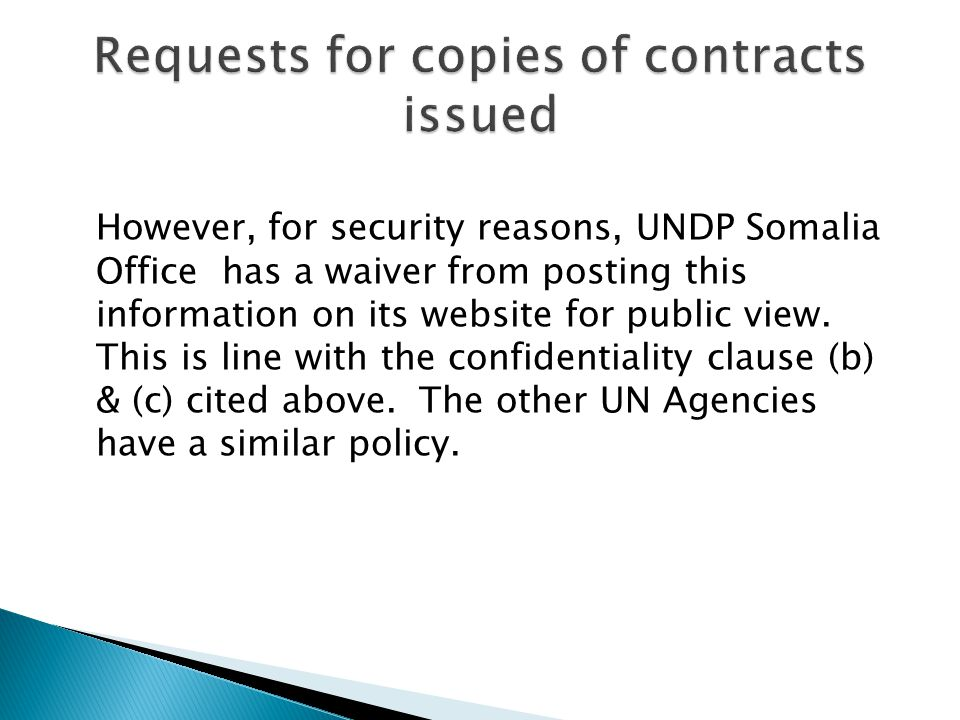 Requests for copies of contracts issued
