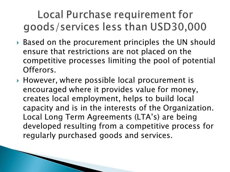Local Purchase requirement for goods/services less than USD30,000