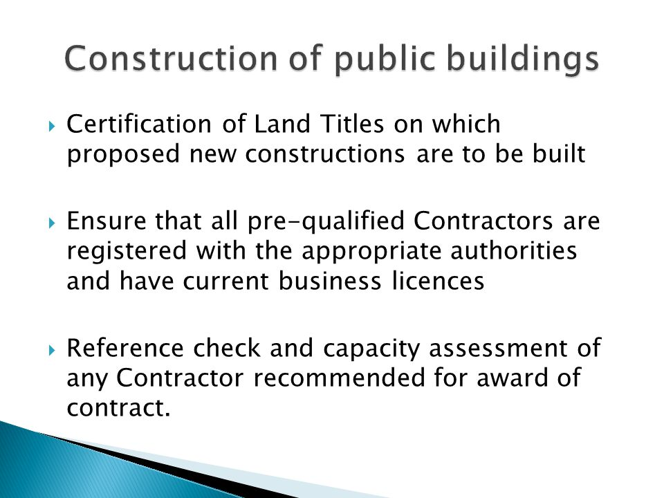 Construction of public buildings