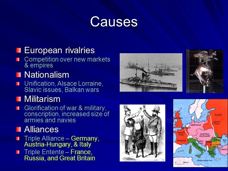 Causes European rivalries Nationalism Militarism Alliances