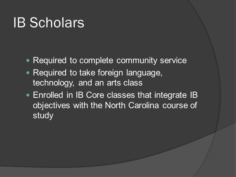 IB Scholars Required to complete community service