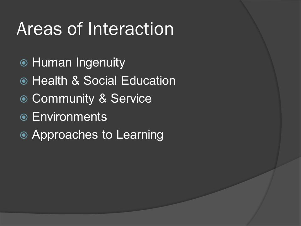 Areas of Interaction Human Ingenuity Health & Social Education