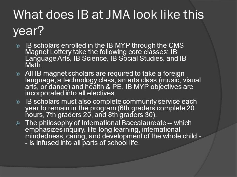 What does IB at JMA look like this year