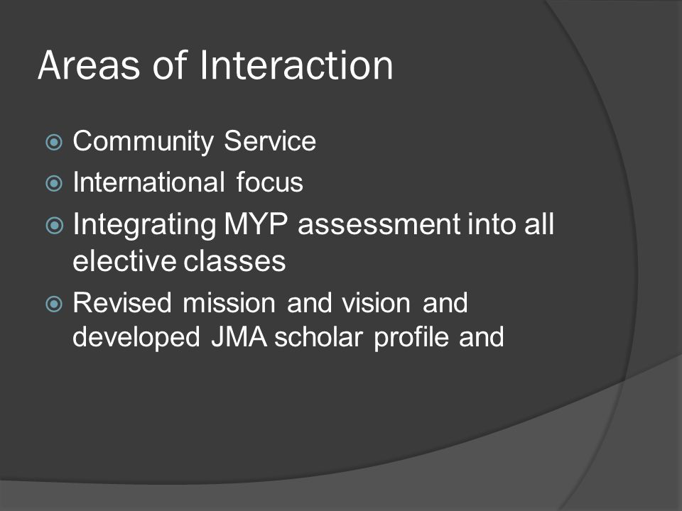 Areas of Interaction Community Service. International focus. Integrating MYP assessment into all elective classes.