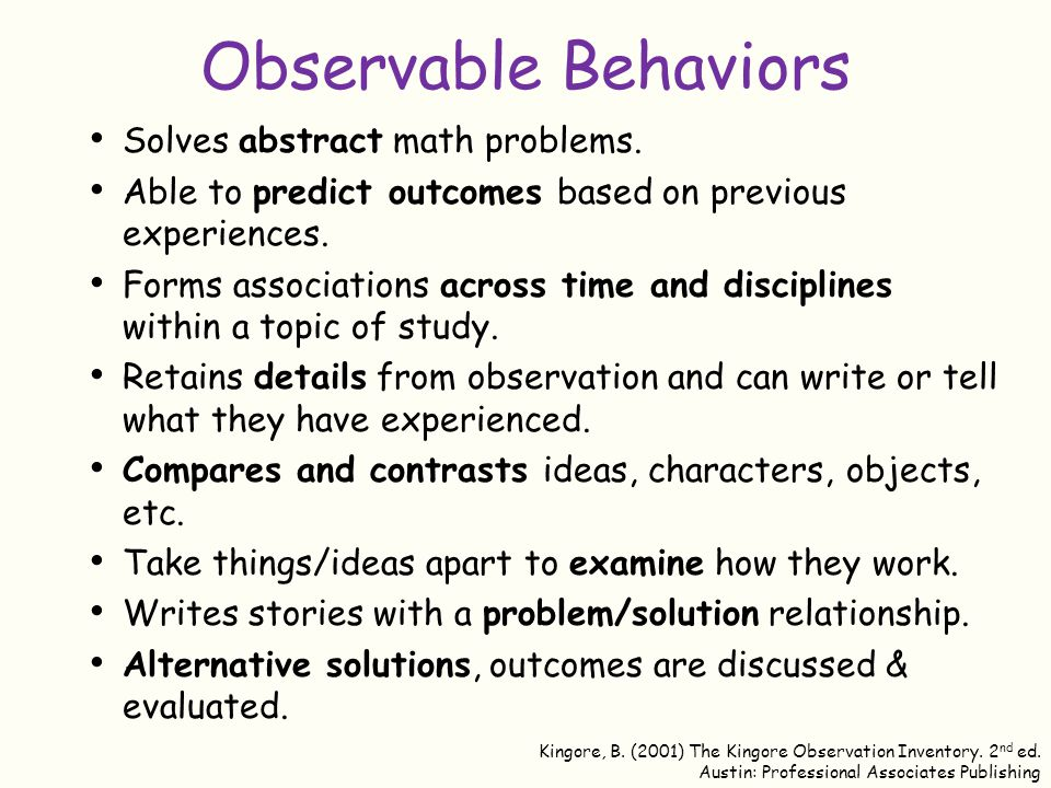Observable Behaviors Solves abstract math problems.