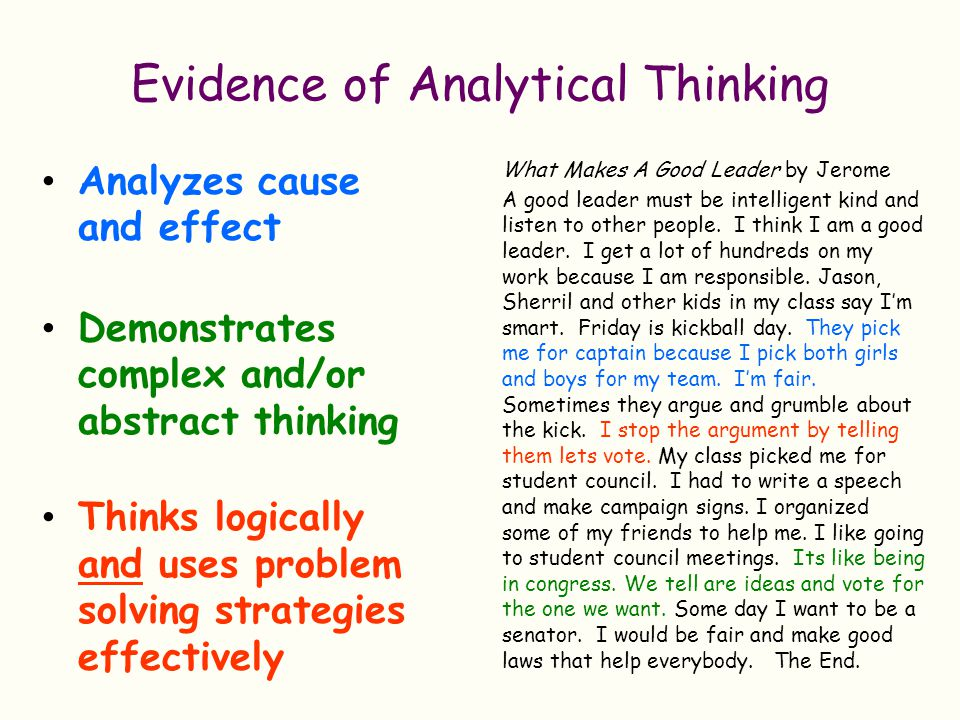 Evidence of Analytical Thinking