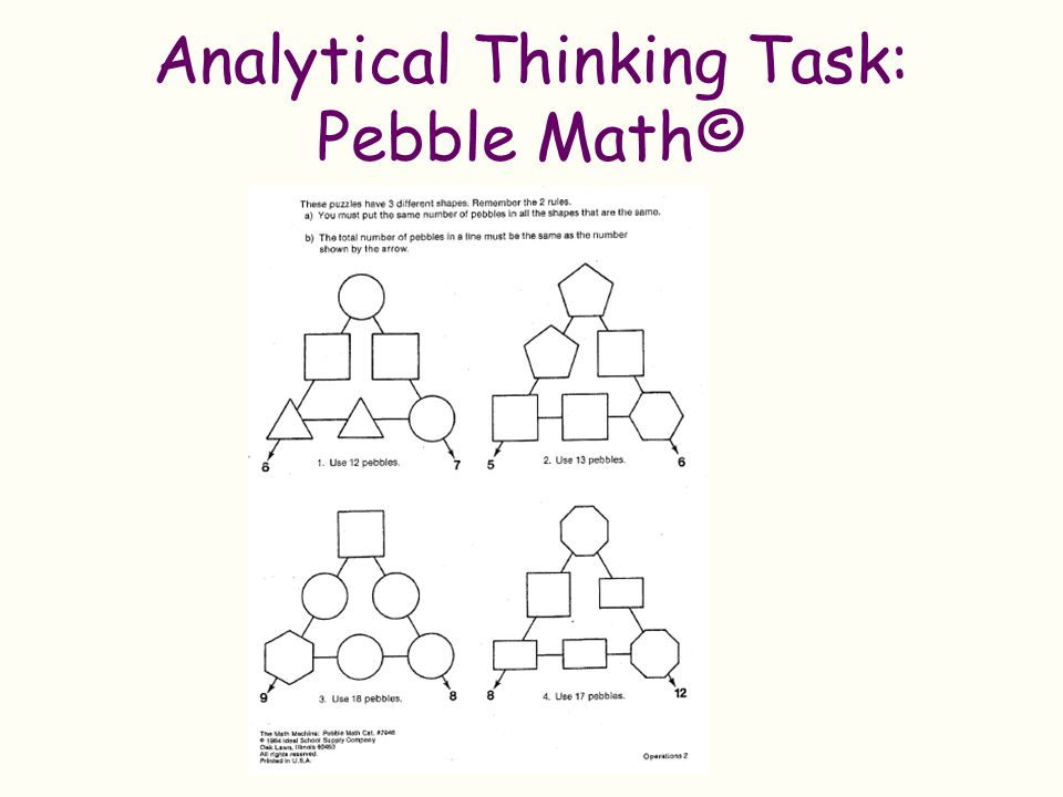 Analytical Thinking Task: Pebble Math©