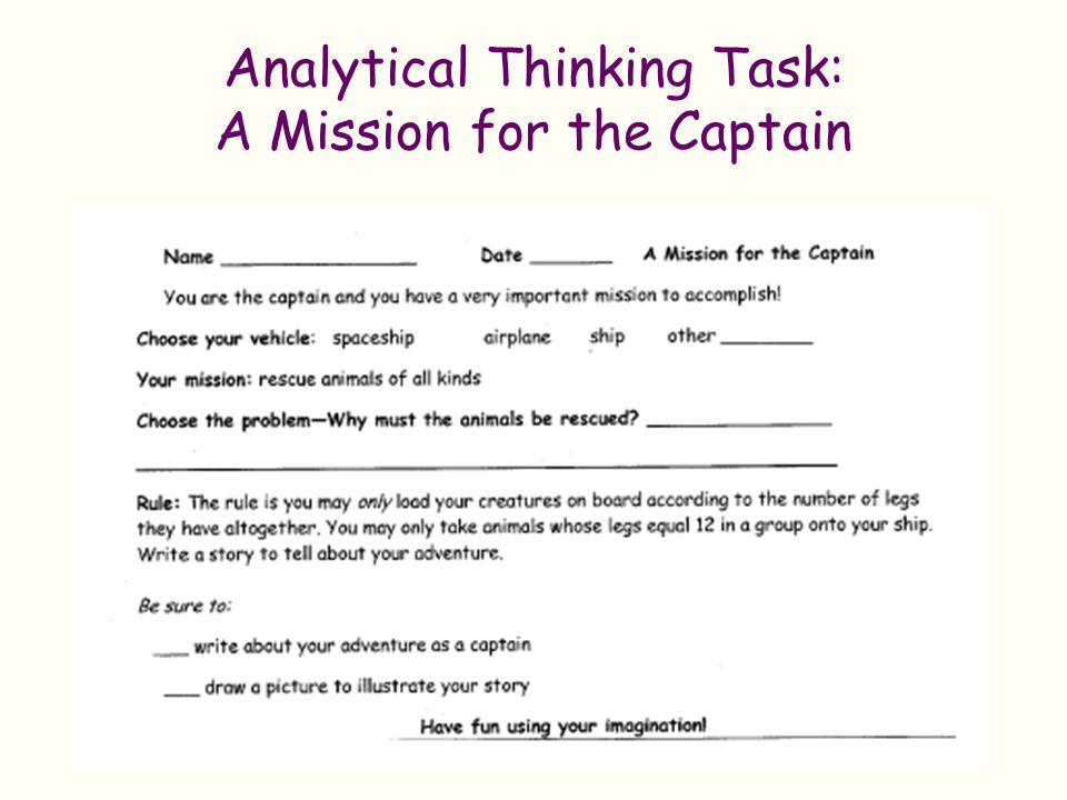Analytical Thinking Task: A Mission for the Captain