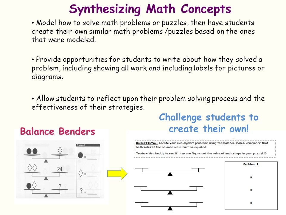 Synthesizing Math Concepts Challenge students to create their own!
