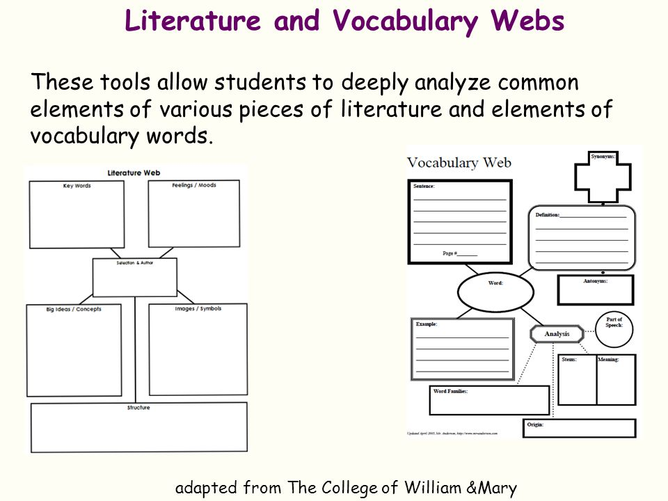 Literature and Vocabulary Webs