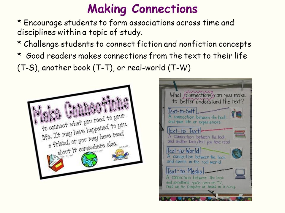 Making Connections * Encourage students to form associations across time and disciplines within a topic of study.