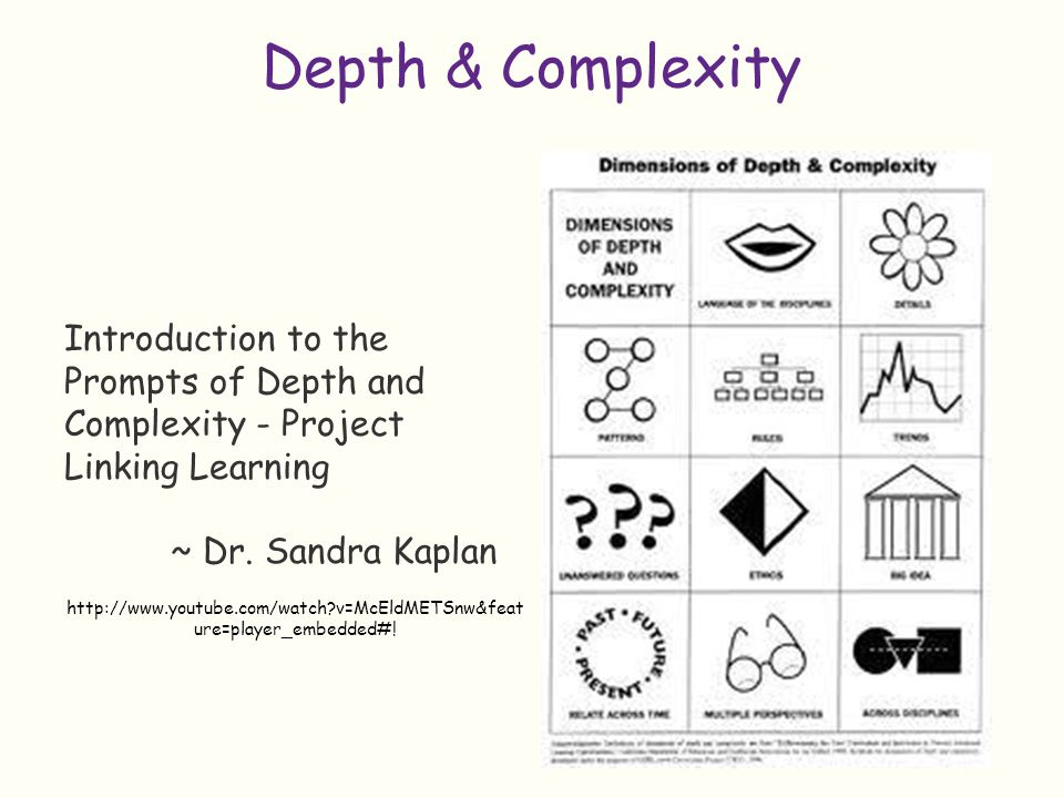 Depth & Complexity Introduction to the Prompts of Depth and Complexity - Project Linking Learning. ~ Dr. Sandra Kaplan.