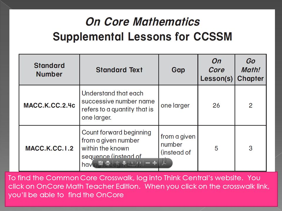 To find the Common Core Crosswalk, log into Think Central's website