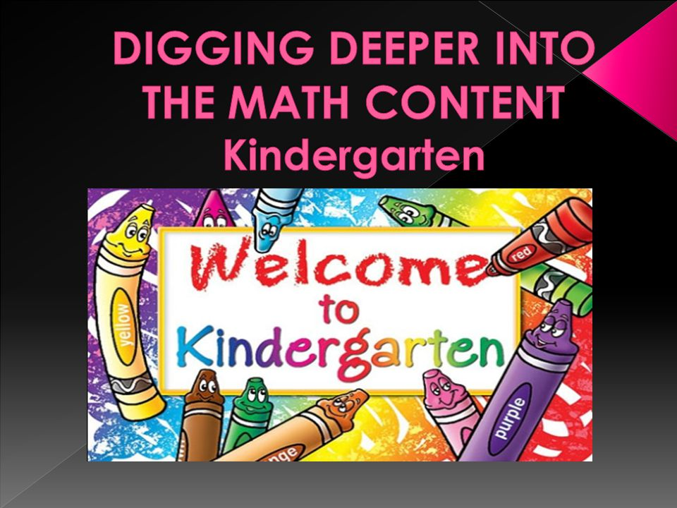 DIGGING DEEPER INTO THE MATH CONTENT Kindergarten