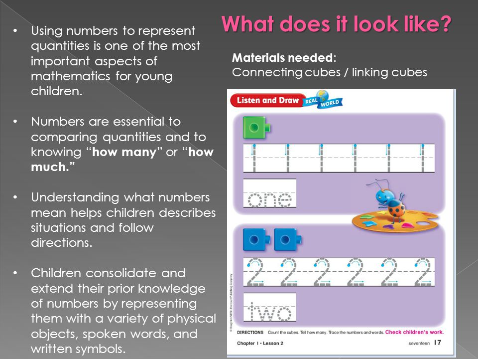 What does it look like Using numbers to represent quantities is one of the most important aspects of mathematics for young children.