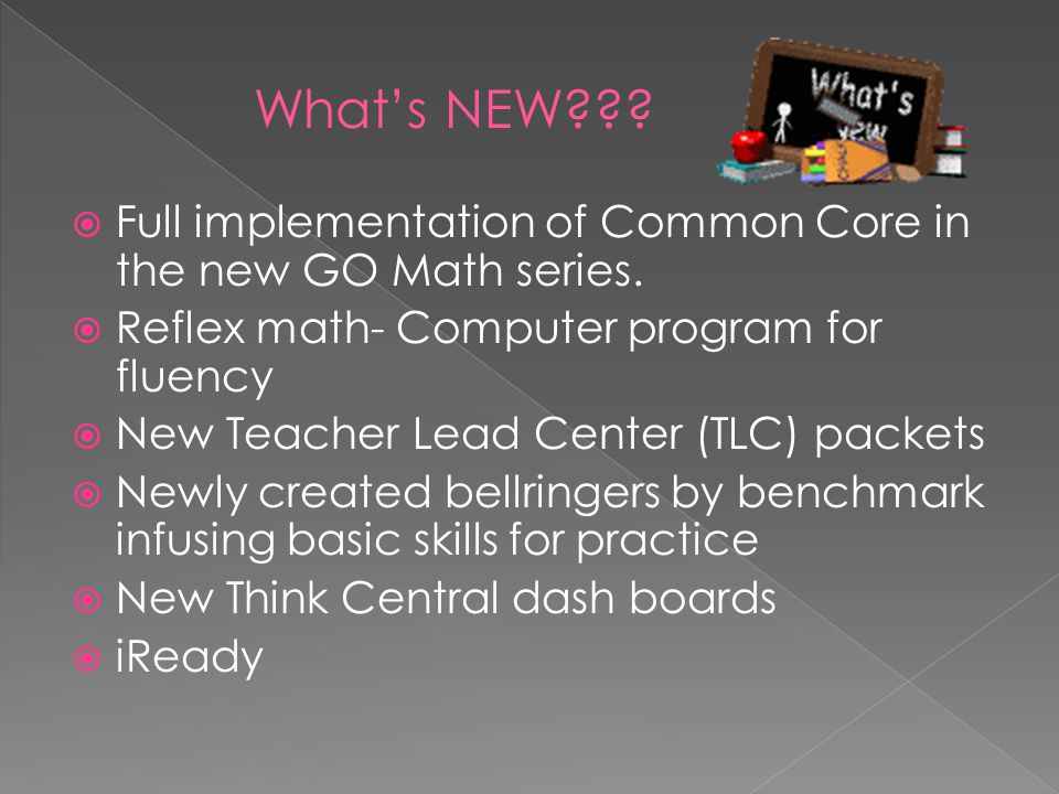 What's NEW Full implementation of Common Core in the new GO Math series. Reflex math- Computer program for fluency.